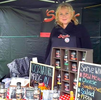 Emma-Jane Slack with her All Things Saucy products