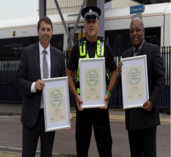Dartford MP Gareth Johnson presenting Secure Stations awards to David Kirby of the British Transport Police and Alwyn Hurlock, Southeastern's duty station manager at Dartford.