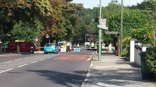 Bromley Road is closed due to an overturned vehicle. Photo: James Higgins