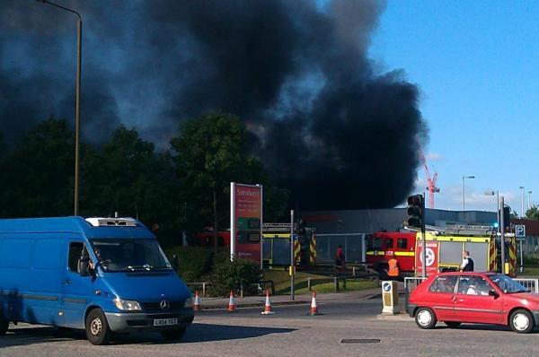 Black smoke filled the air at the petrol station in East Greenwich