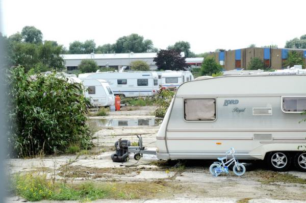 The travellers photographed near Maxim Road, Crayford, yesterday