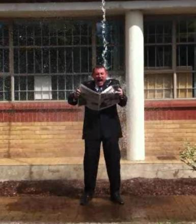 News Shopper editor Andy Parkes does the Ice Bucket Challenge
