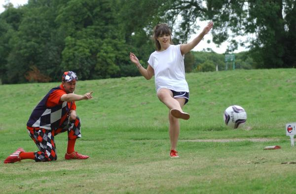 Hatty Collier tries out footgolf at High Elms golf course