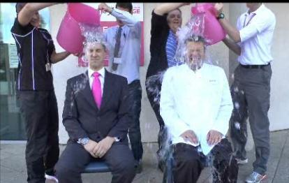 Andrew Slade and David Lambert take the Ice Bucket Challenge at Bromley College
