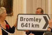 Showing the way to Bromley – a present to Bromley's twin town of Neuwied in the Rhineland. Pictured are Inge Gûtler, chairwoman of the Neuwied twinning association and Peter Brown, chairman of the Bromley Town Twinning Association