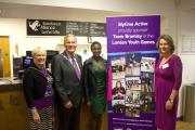 From L – R. The Mayoress of Bromley Mrs Valerie Benington, The Mayor of Bromley, Councillor Julian Benington, World Junior Champion Dina Asher-Smith and Marg Mayne Chief Executive Mytime Active.
