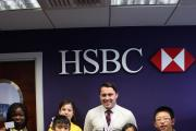Left to right-Fola Kayode;, Daisy Thackrah yellow top-, Tuong-Luan -in front of Daisy),  Billy Walker (HSBC), Jessica Nguyen, Yuxuan Jiang
