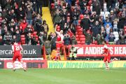 Yoni Buyens celebrates putting Charlton 2-1 ahead. Picture by Edmund Boyden.