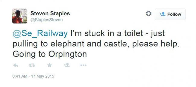 Left in a jam: Man stuck in train toilet forced to TWEET Southeastern staff for help