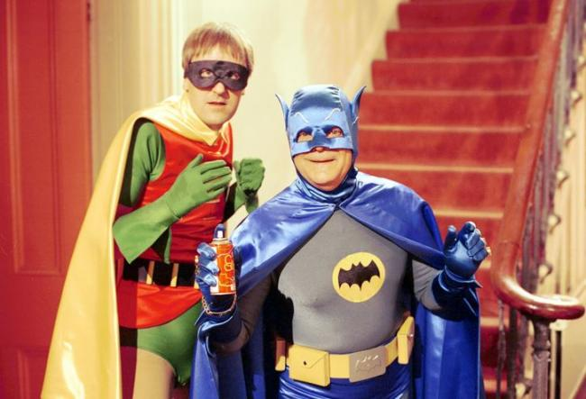 Derrick and Rodney Trotter as Batman and Robin in Only Fools and Horses.