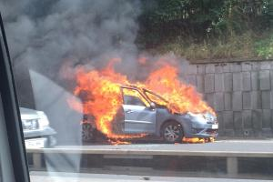 PICTURED: Fireball car blaze causes congestion on A2