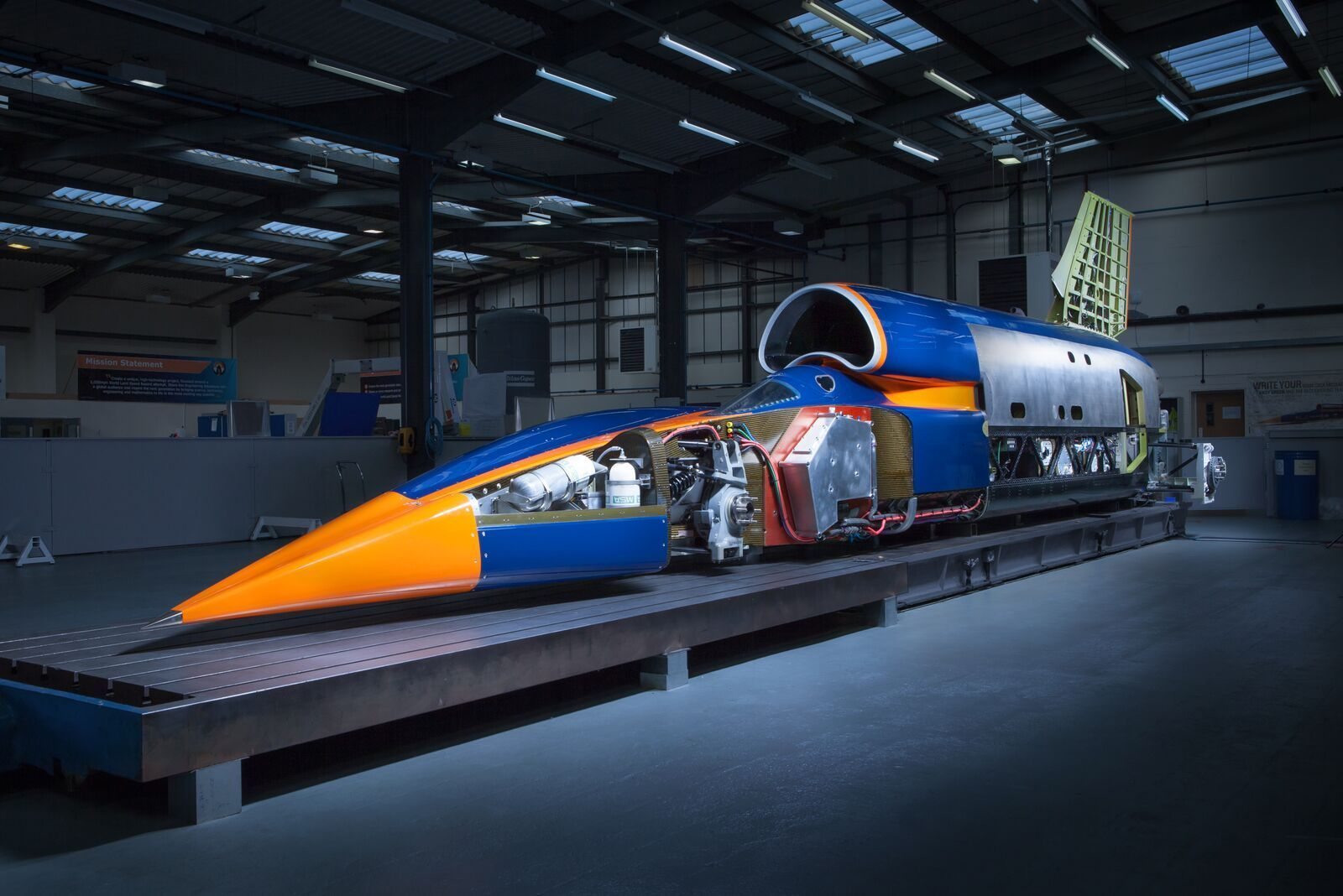 The Bloodhound SSC (supersonic car) is on display at Canary Wharf