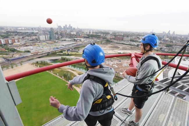 Trying to land a basket from 80 metres up on top of the ArcelorMittal Orbit