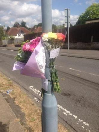 Tributes left in Lynden Way, Swanley, where Mr Rossiter died