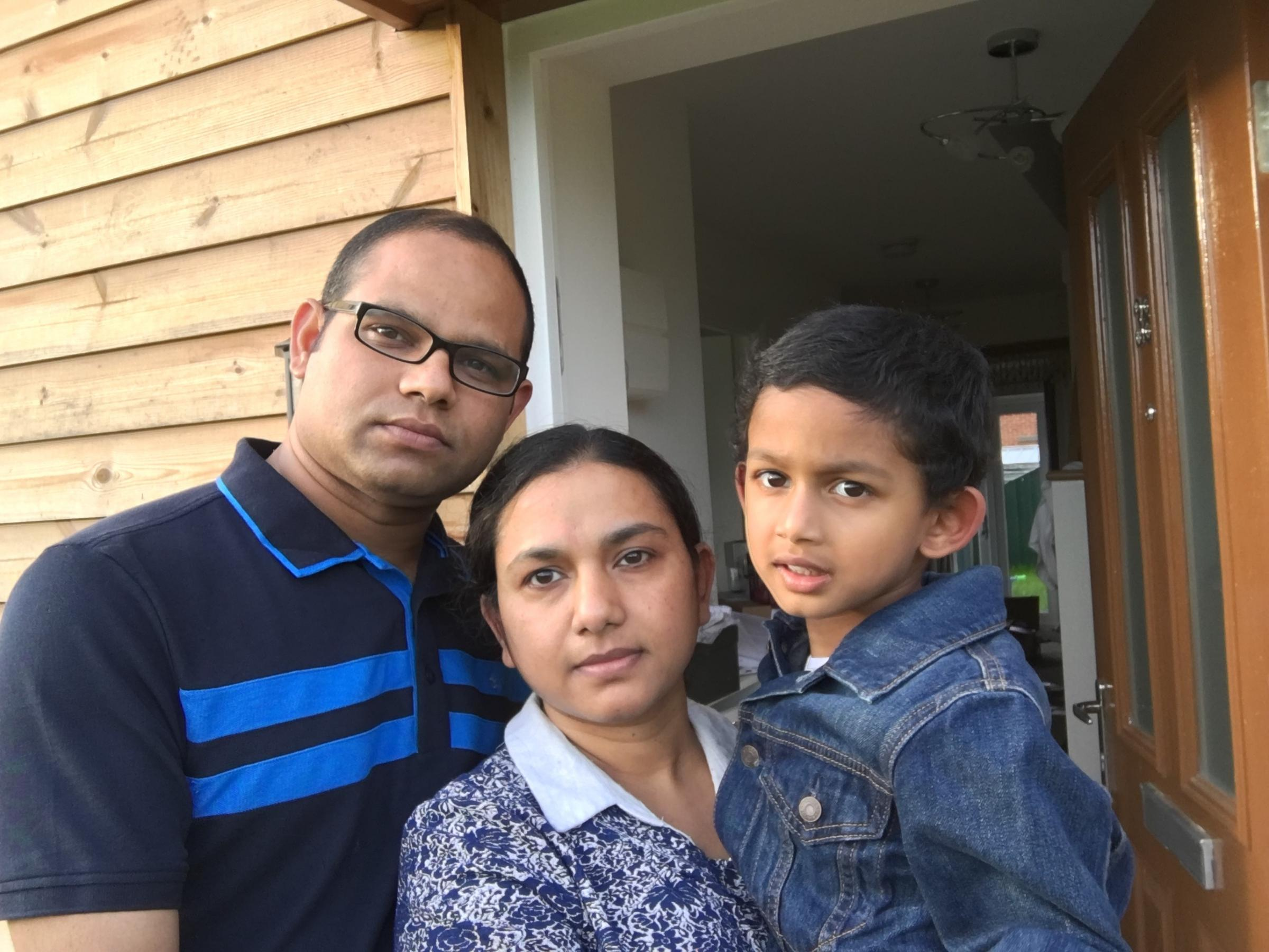 Debi Das with his wife and son