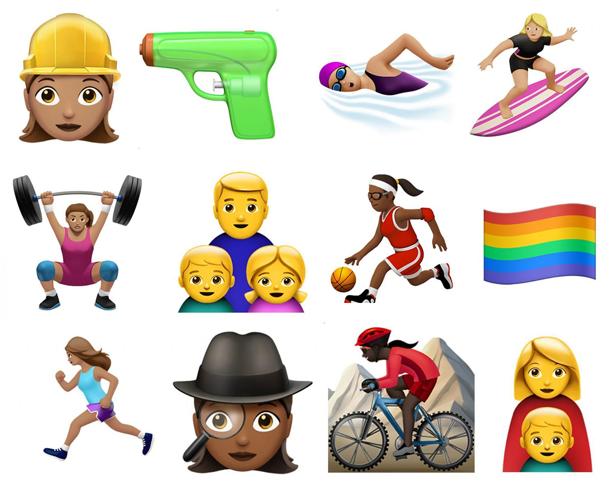 Some of the 100 new emoji: Worker, waterpistol, swimmer, surfer, body builder, single dad family, basketball, rainbow flag, runner, sleuth, mountain biker and single family