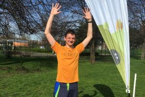 Geoff Marshall after he completed the run at Burgess Park