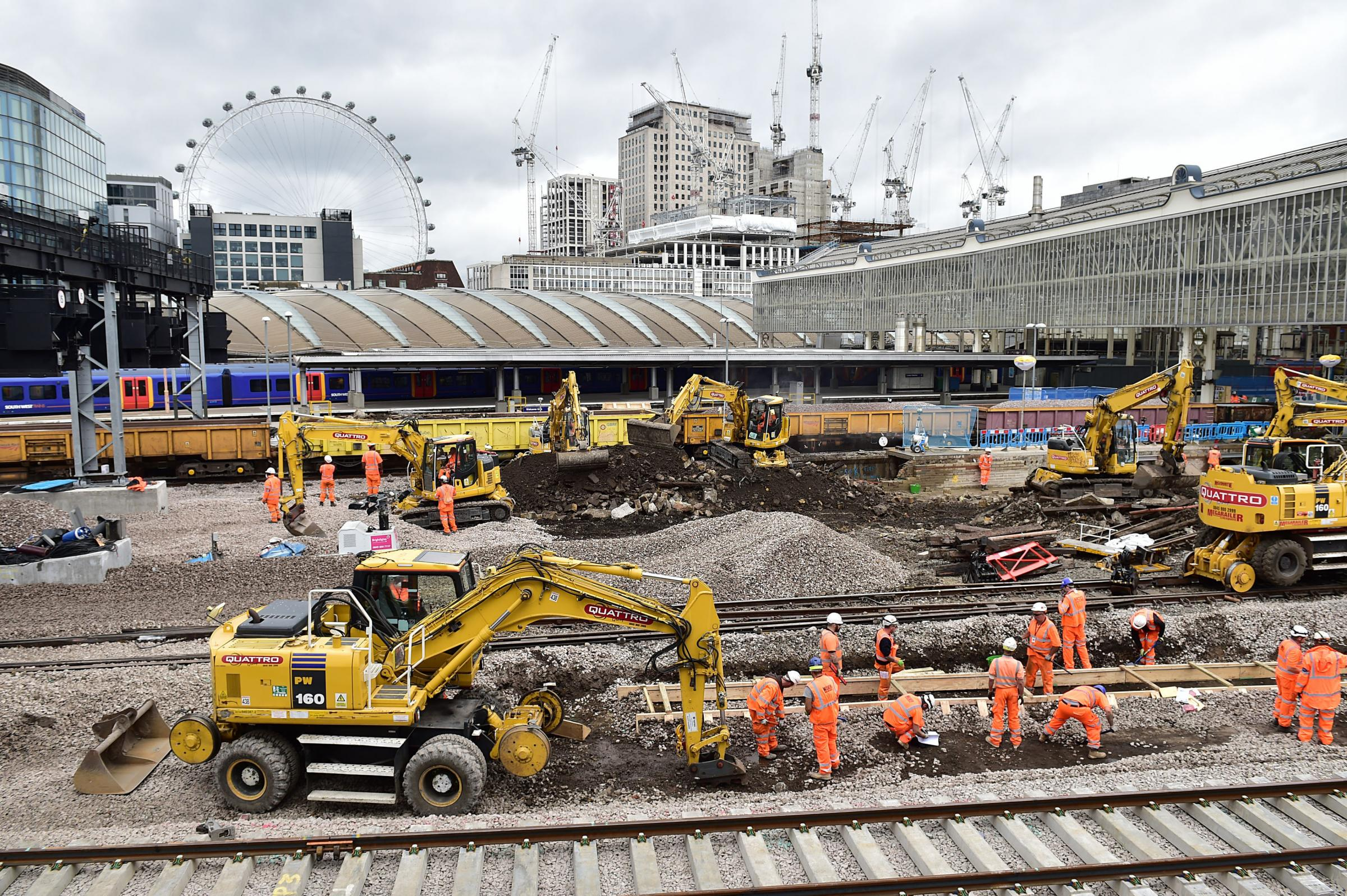 Engineering work at Waterloo Station in London. Photo: PA Wire