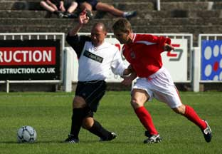 Bromley boss Mark Goldberg (left) is pictured in action during Sunday's Rob Hughes charity game, but he has a few things to ponder after Saturday's defeat at Braintree. EDMUND BOYDEN.