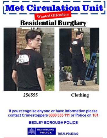 Police wan to speak with this man in relation to a burglary in Welling
