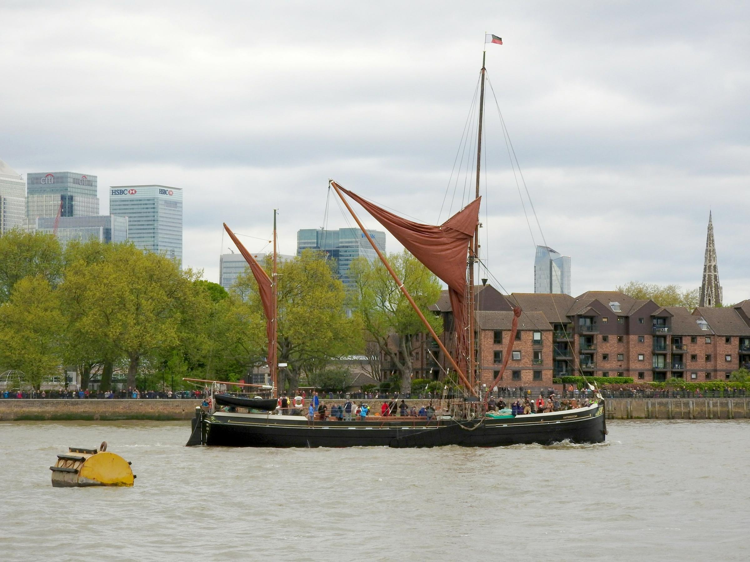Barage parade to sail along the Thames outside Greenwich and Deptford