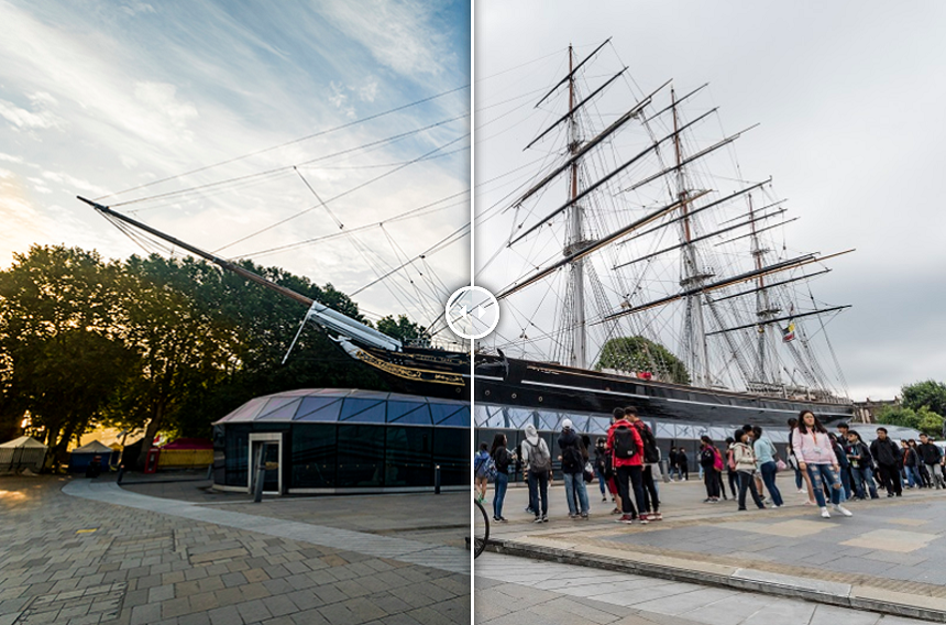 Cutty Sark in Greenwich photographed at 6am and 10am. Credit: Neil Andrews