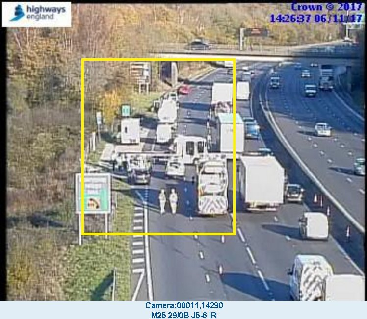 There will be delays on the M25 because of a crash