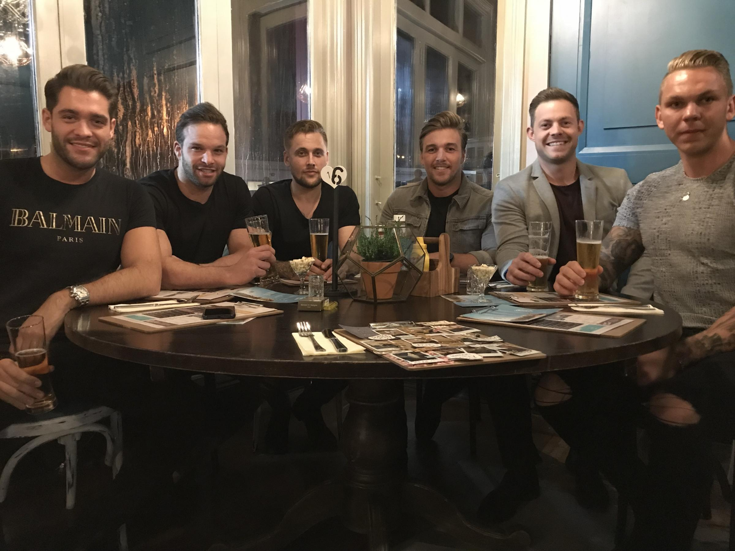 Jonny Mitchell from ITV's Love Island show (far left) is a frequent visitor of Burger and Bubbles