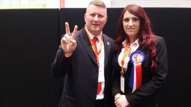 Paul Golding and his deputy Jayda Fransen at the London mayoral elections 2016