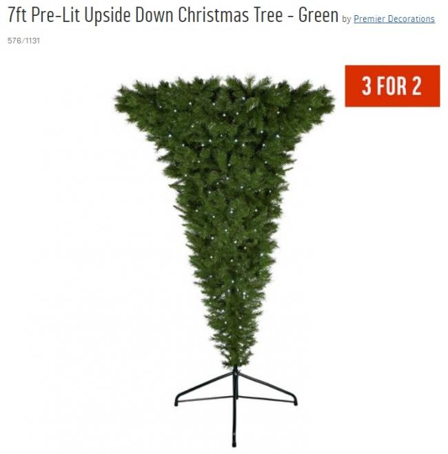 We're not sure why, but Argos is selling an upside-down Christmas tree this year