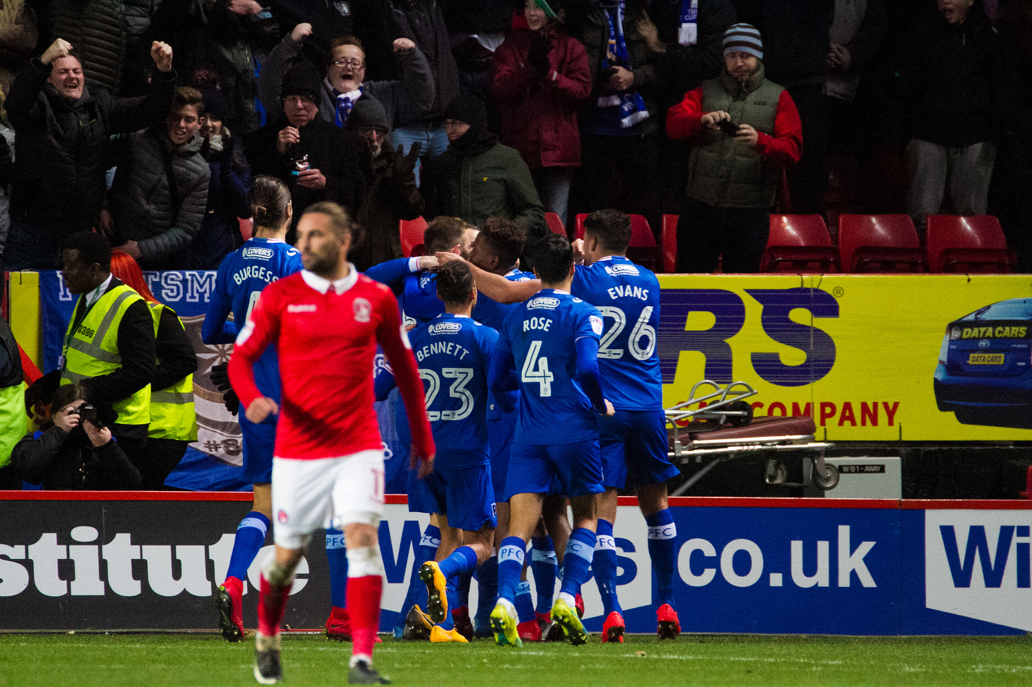 Portsmouth celebrate their winning goal at the Valley earlier this month | Picture: Benjamin Peters Photography