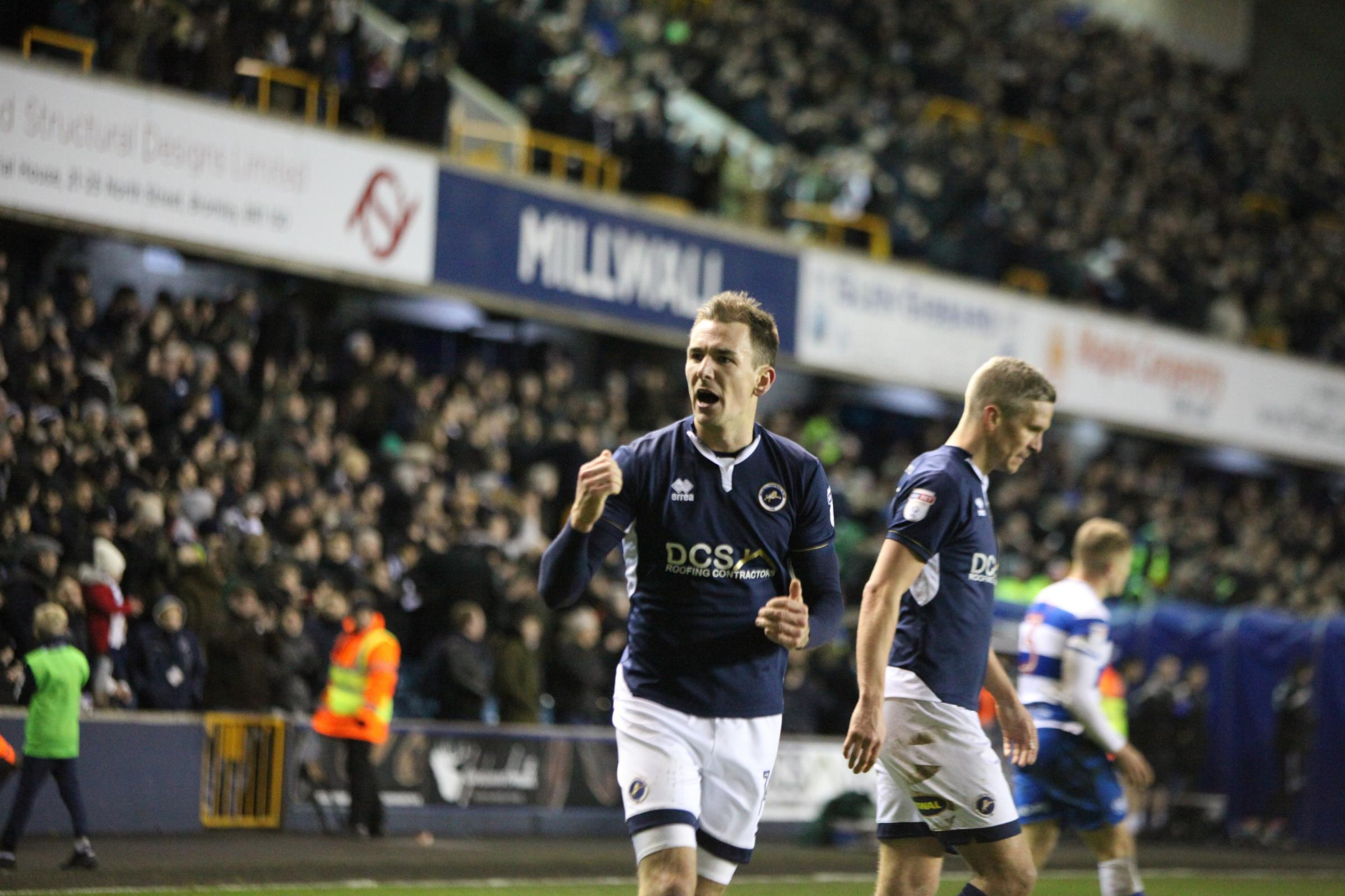 Jed Wallace celebrates as Millwall defeat QPR 1-0. Photo: Tom West Photography