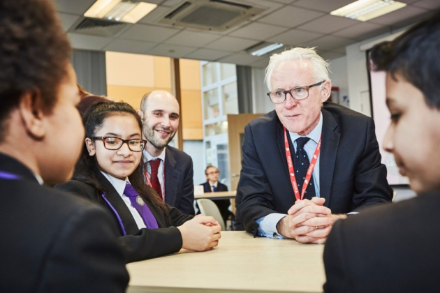 MP Norman Lamb speaking with Lister Community School students about the Headstart programme. (Picture: Headstart Newham)