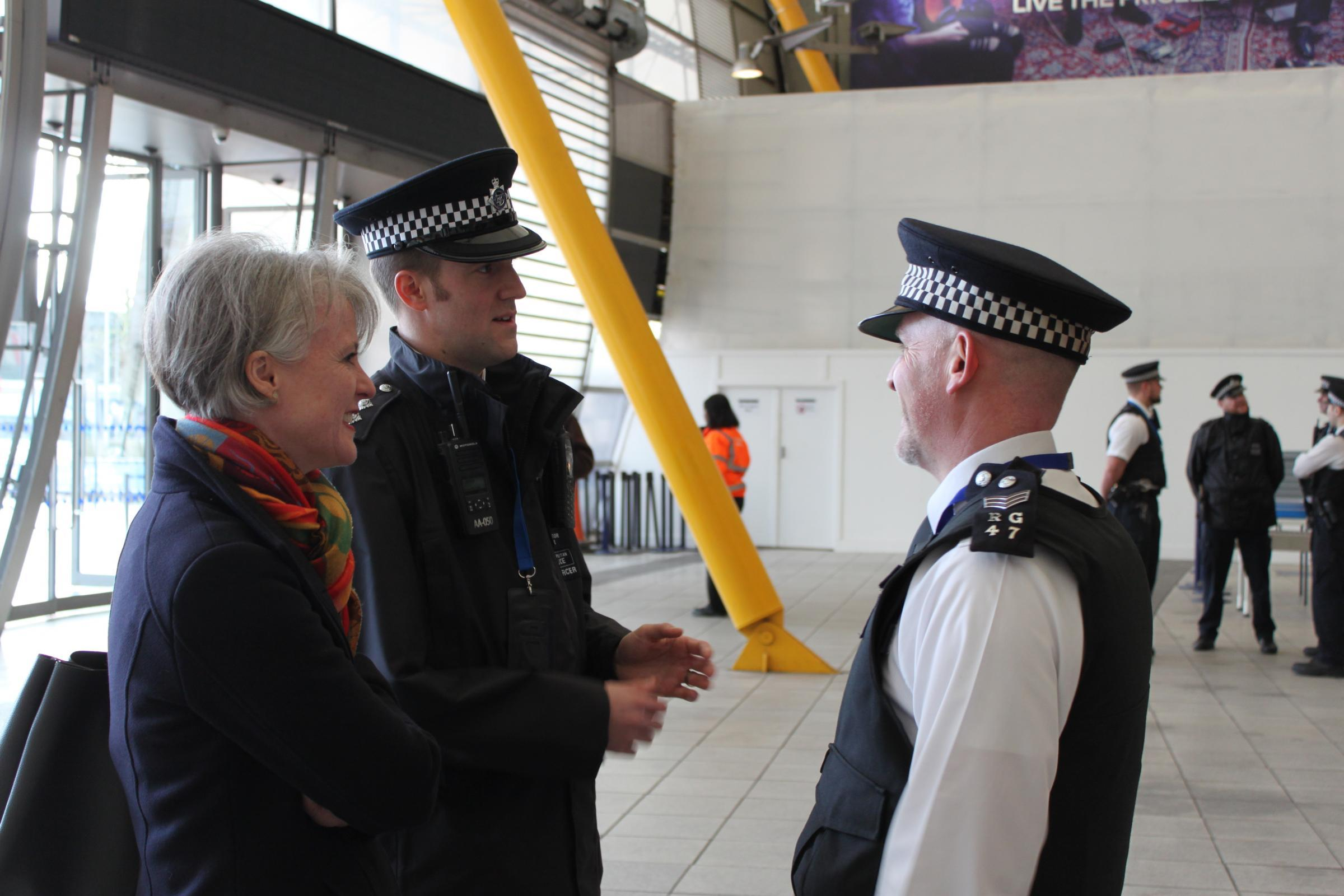Sophie Linden, London's deputy mayor for policing, meeting officers from the Greenwich Peninsula Safer Neighbourhood team in 2017
