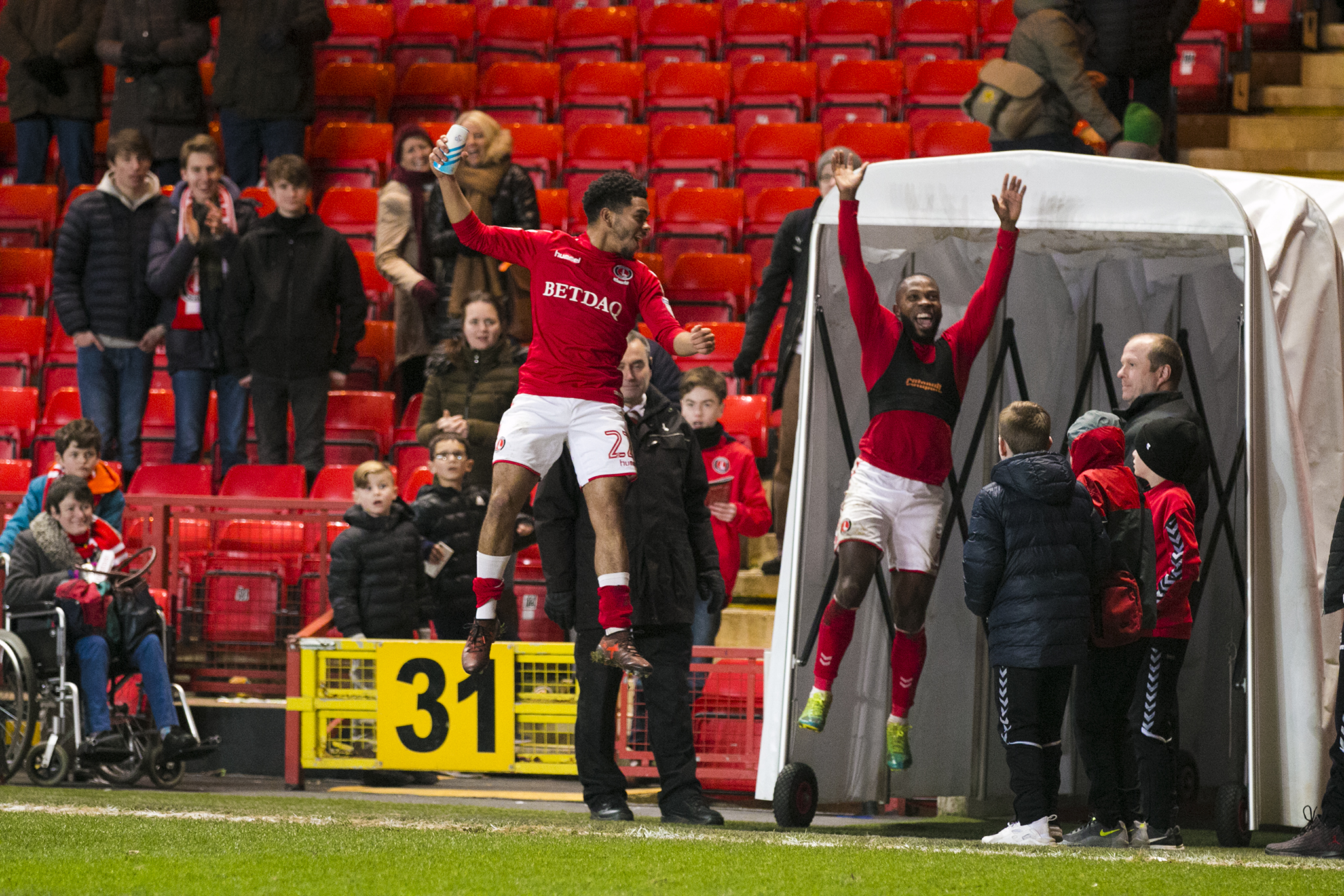 Mark Marshall and Jay Dasilva celebrate the Oldham win | Picture: Benjamin Peters Photography