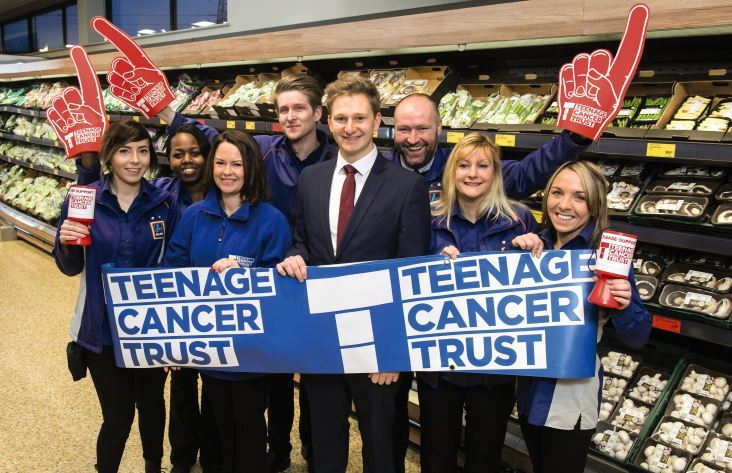 Aldi UK employees have been raising money for Teenage Cancer Trust