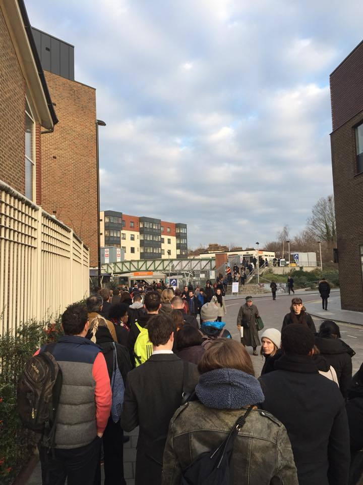 Hundreds queue outside Brockley rail station. Photo: Ruby Heera