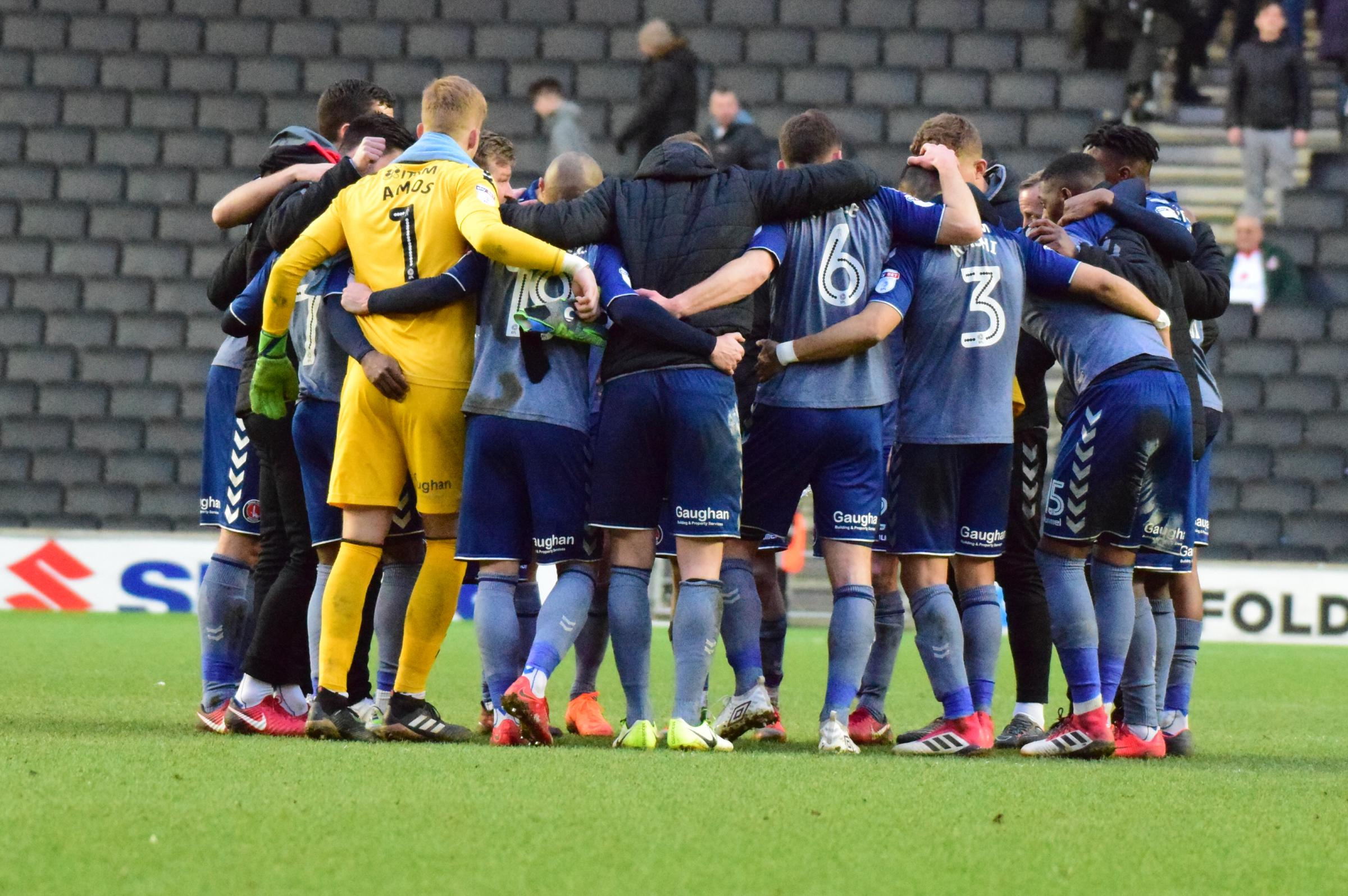 Charlton players at full-time against MK Dons | Picture: Kyle Andrews