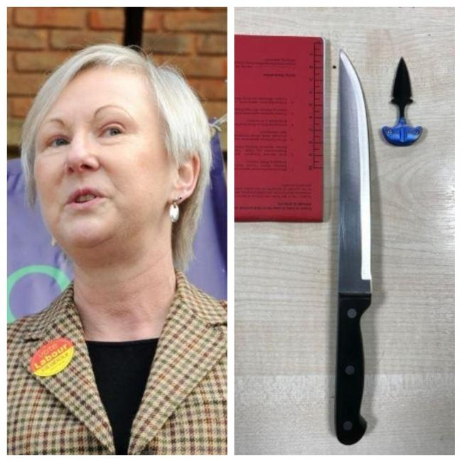 Councillor Angela Wilkins / knife recovered from incident in The Glades
