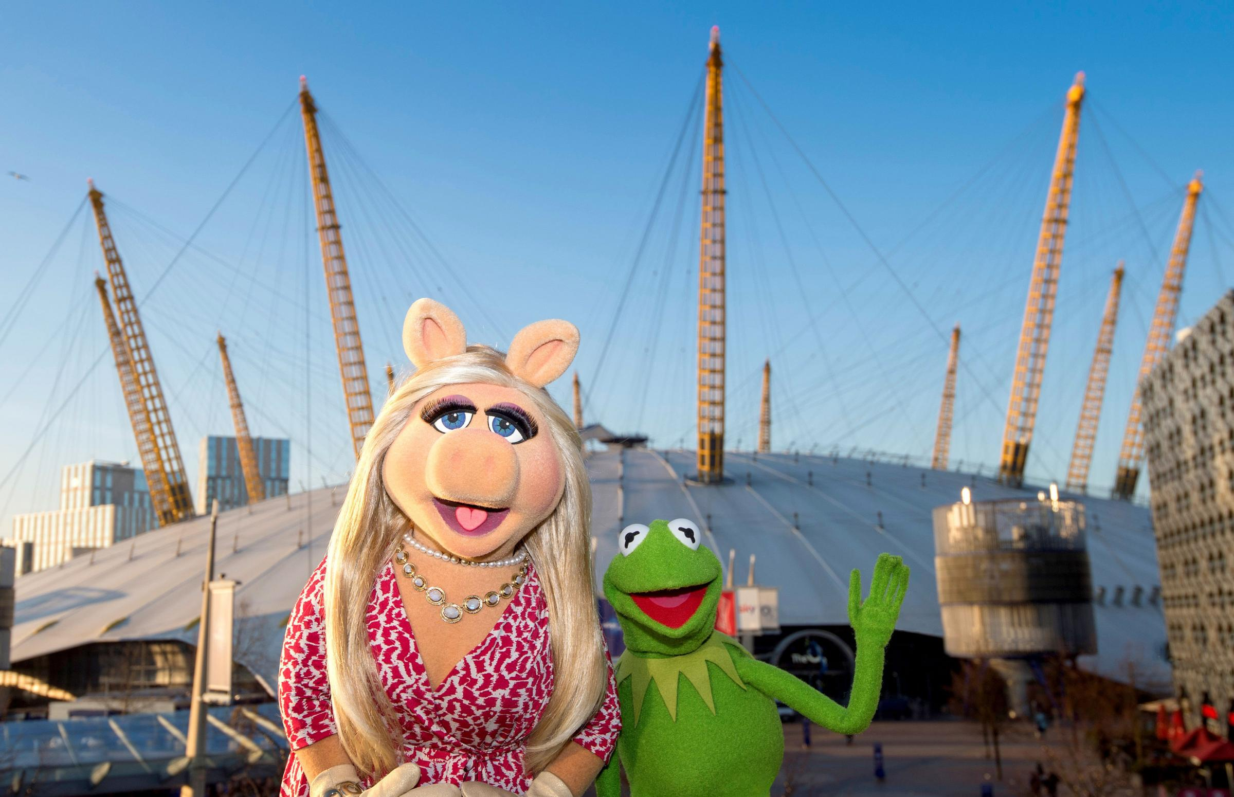 Miss Piggy and Kermit, as the pig puppet has said that she will be angling for an invitation to the royal wedding when The Muppets come to London for their first ever full-length live shows in Europe. Photo: AEG Presents/PA Wire