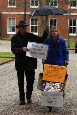 Maggie and Martin Gebbett paid an £80 parking fine in pennies in protest at the fine
