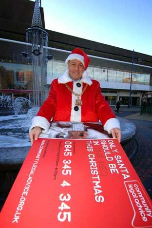 Bexley mayor Councillor Nick O'Hare publicised the financial advice service dressed as Santa