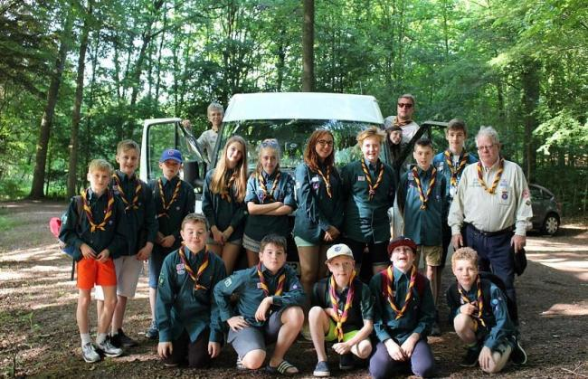 The 5th Petts Wood Scout Group posing in front of the now stolen minibus