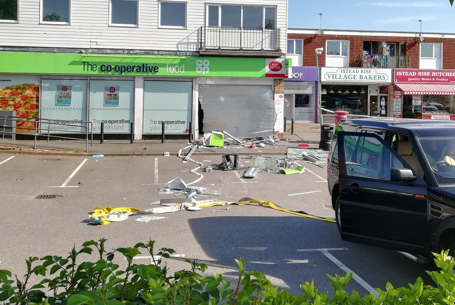 Picture credit: @PopGiants Debris could be seen strewn across the Coop car park this morning after the incident