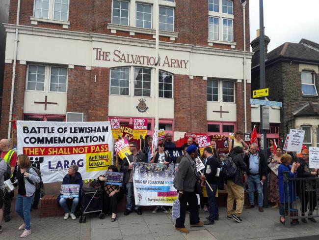 Anti-racism protesters gathered outside a hustings for Lewisham East candidates. Photo: Rich Squince?