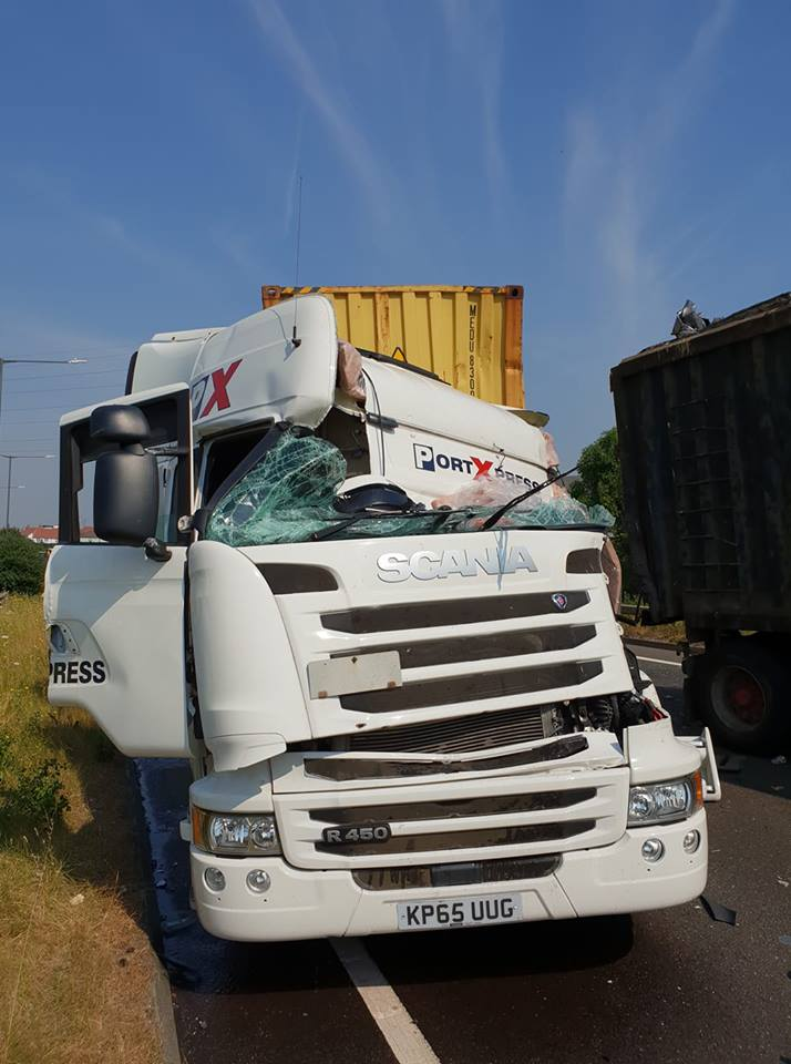 A lorry was heavily damaged in the collision. Photo: Rob Nicholls