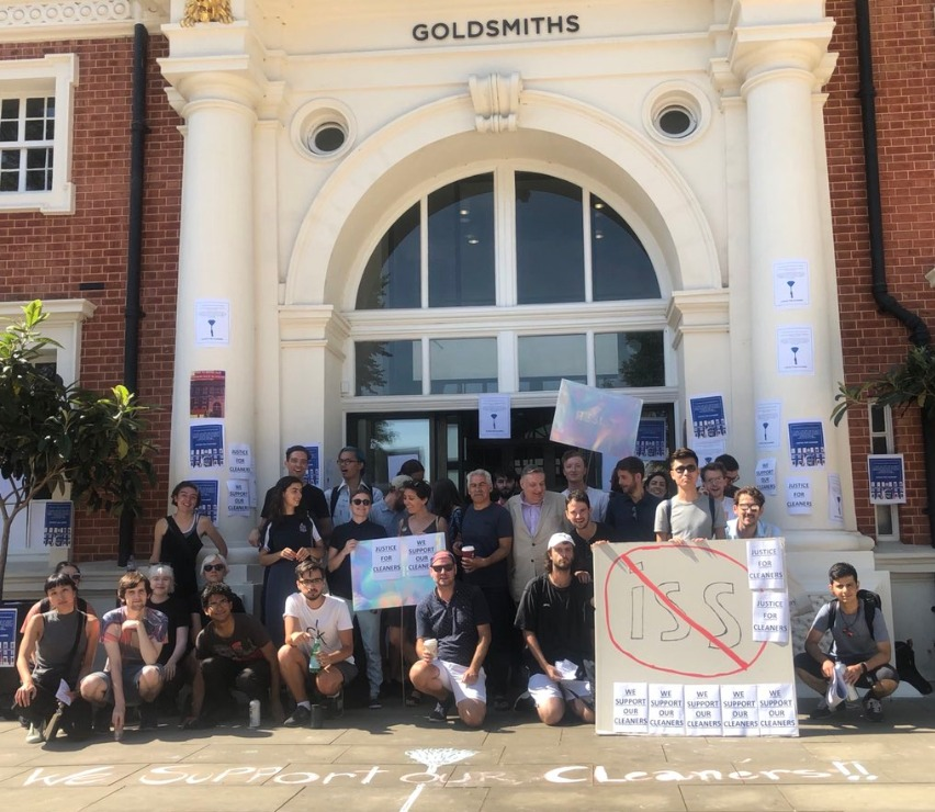 Staff and students demonstrate outside Goldsmiths, University of London