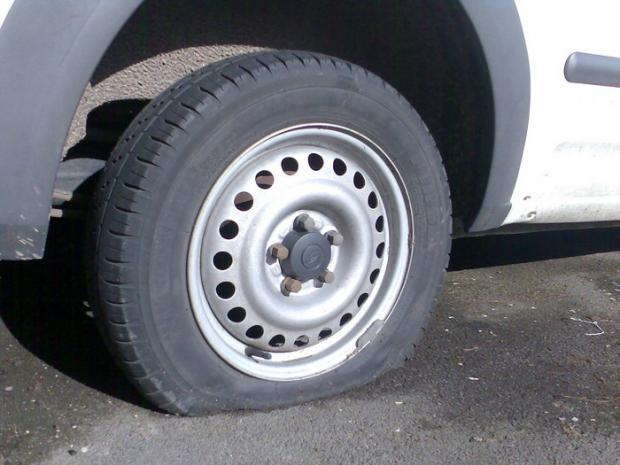 News Shopper: One of the vandalised tyres.