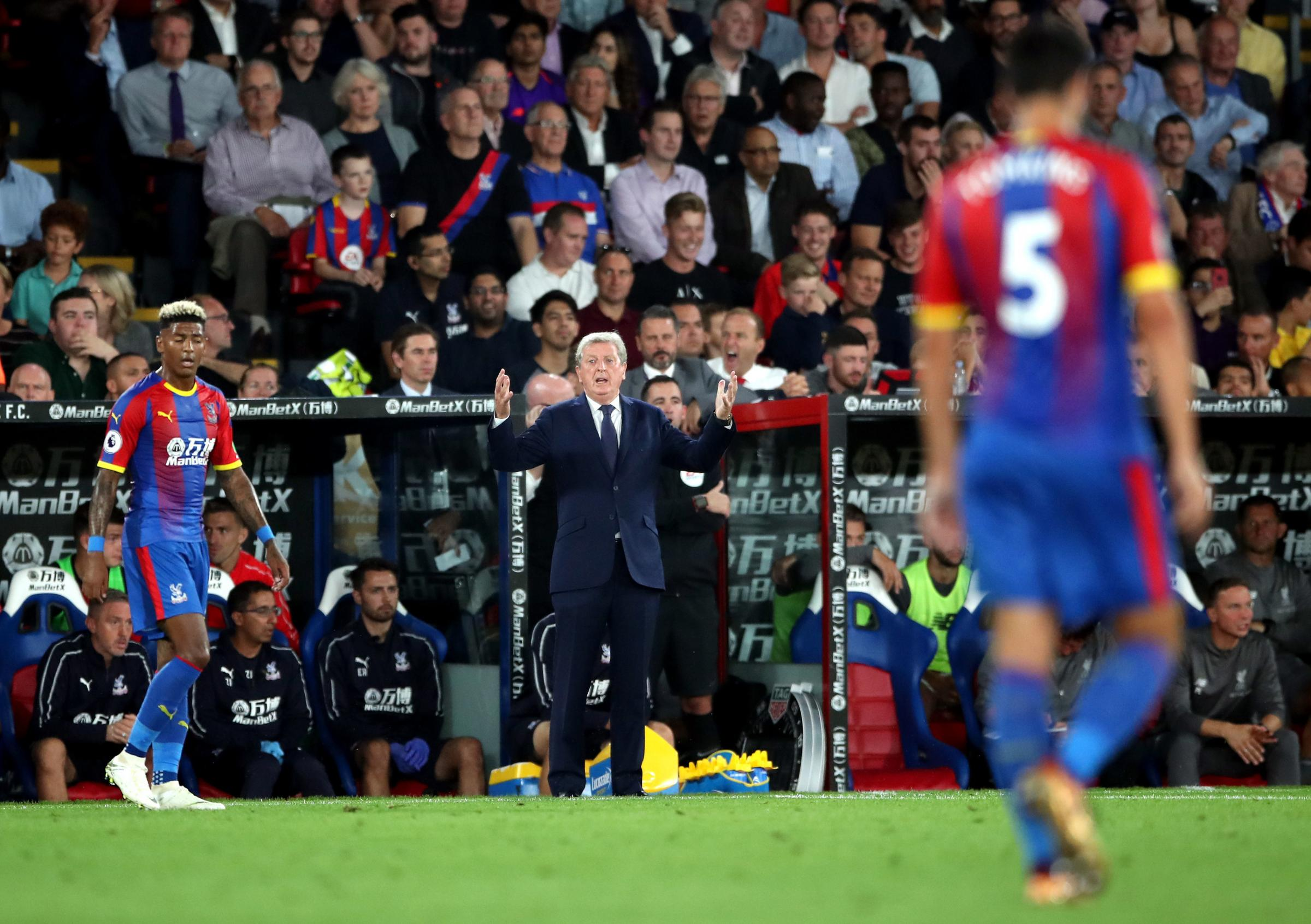 Crystal Palace manager Roy Hodgson on the touchline during the Premier League match against Liverpool. Photo: Nick Potts/PA