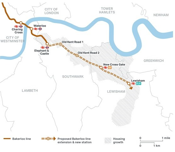 The Bakerloo line extension will run from Elephant and Castle into Lewisham via the Old Kent road.
